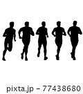 Set of silhouettes. Runners on sprint men on white background 77438680