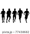 Set of silhouettes. Runners on sprint men on white background 77438682