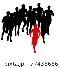 Set of silhouettes. Runners on sprint men on white background 77438686