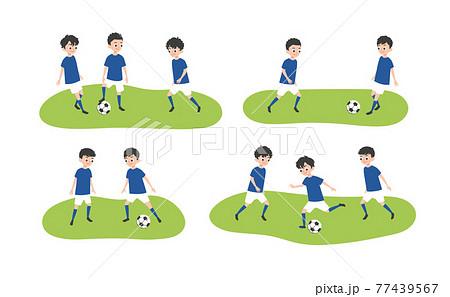 イラスト素材 男子サッカー サッカーを練習する子供たち 77439567