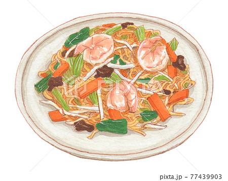 手描き飲食メニュー 上海焼きそば 77439903