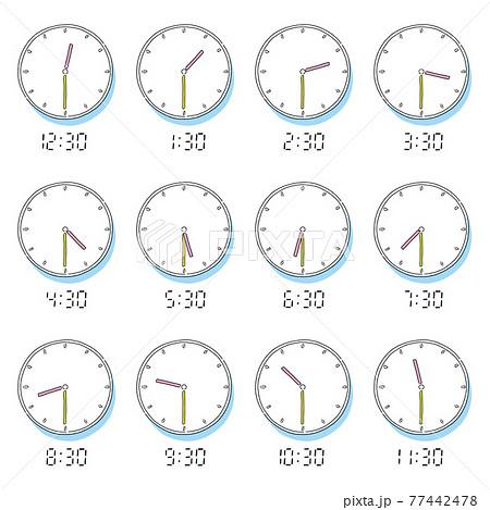 手描きのアナログ時計とデジタル液晶数字表示 77442478