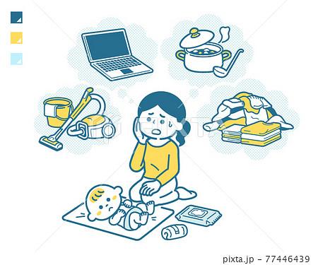 家事育児に追われる母親 77446439