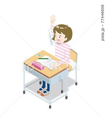 授業、挙手する女子小学生 77446606
