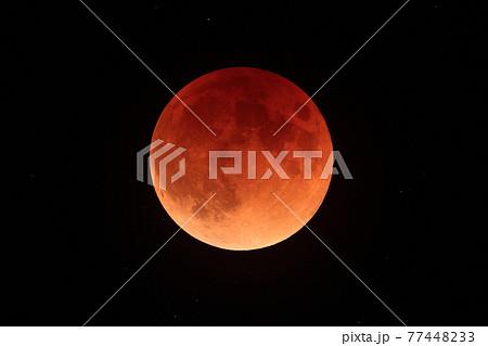 皆既月食中の赤い月 77448233