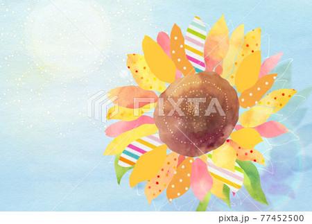 夏の日差しに照らされるひまわり 77452500