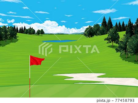 緑が眩しいゴルフ場 77458793