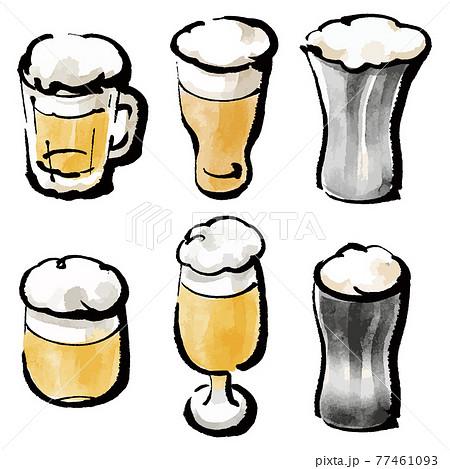 イラスト素材:グラスに注がれたビール カラフルイラスト セット 77461093
