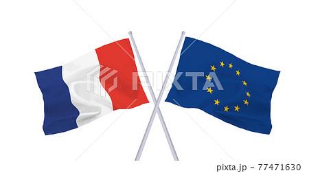 EUとフランスの旗 77471630