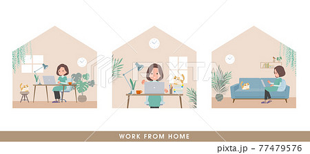 在宅で仕事をしているチュニック中年女性のセット 77479576