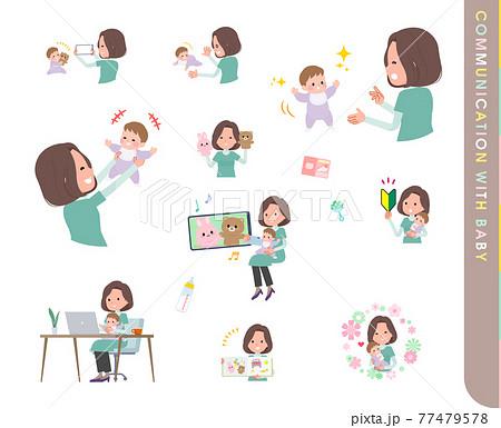 赤ちゃんとコミュニケーションをとるチュニック中年女性のセット 77479578