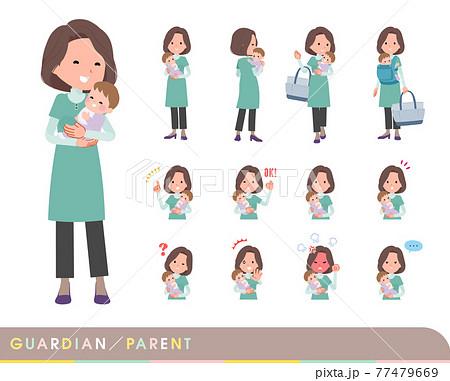 赤ちゃんの保護・世話をするチュニック中年女性のセット 77479669