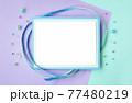 ビーズと青いろの涼しいメッセージカード 77480219
