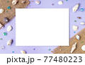 貝殻と麦わらのメッセージカード 77480223