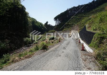 桐生市菱町を流れる黒川に沿って作られている林道 77481028