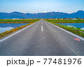 初夏の安曇野市の水田と水鏡 【長野県】 77481976