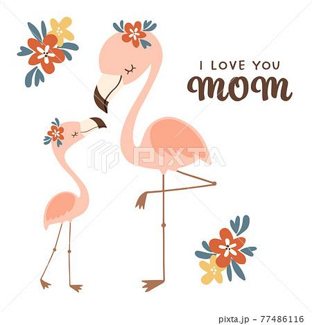 子供とお母さんフラミンゴが向かい合って立っているイラスト 77486116