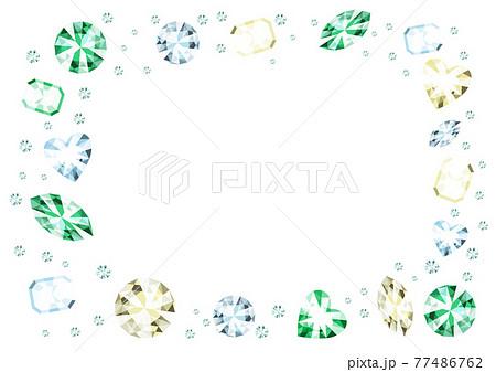 キラキラと輝くカラフルな宝石のフレーム素材 ちりばめられたダイヤモンド 77486762