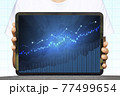 Close-up Of Business man's hand holding tablet showing stock market statistics gain profits and increase of chart positive indicators. Financial analysis, statistics. Concept of business strategy. 77499654