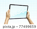 Close-up Of Business man's hand holding tablet showing stock market statistics gain profits and increase of chart positive indicators. Financial analysis, statistics. Concept of business strategy. 77499659