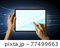 Close-up Of Business man's hand holding tablet showing stock market statistics gain profits and increase of chart positive indicators. Financial analysis, statistics. Concept of business strategy. 77499663