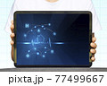 Close-up Of Business man's hand holding tablet showing stock market statistics gain profits and increase of chart positive indicators. Financial analysis, statistics. Concept of business strategy. 77499667