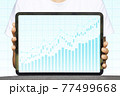 Close-up Of Business man's hand holding tablet showing stock market statistics gain profits and increase of chart positive indicators. Financial analysis, statistics. Concept of business strategy. 77499668