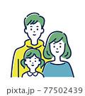 若い3人家族のイラスト素材 77502439