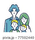 若い4人家族のイラスト素材 77502440