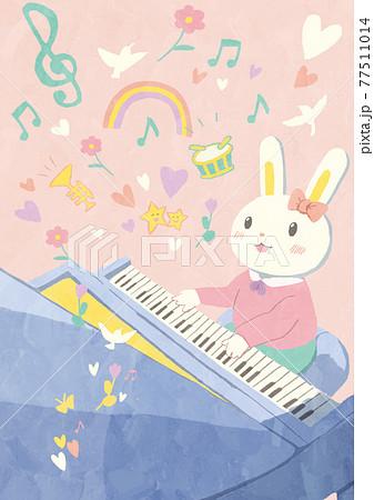 ファンシーイラスト・演奏会でピアノを弾くうさぎ 77511014