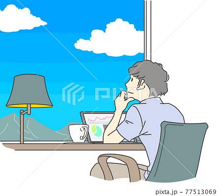 ワーケーション 景色を眺めながらゆったり仕事をする男性 77513069
