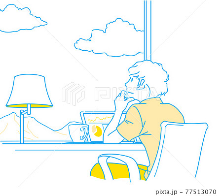 ワーケーション 景色を眺めながらゆったり仕事をする男性 - シンプルカラー 77513070