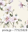 Beautiful elegant watercolor magnolia flower 77525828