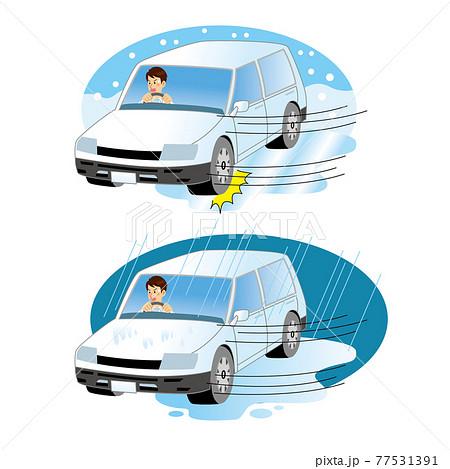 氷や水たまりに滑って焦るドライバー 77531391