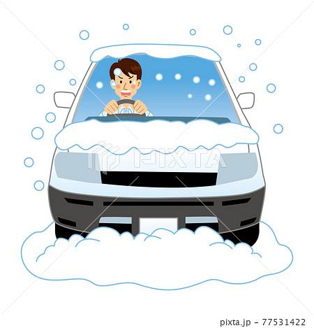 突然大雪に見舞われるドライバー 77531422