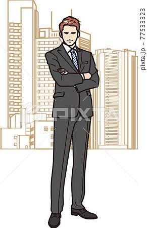 腕組みするビジネスマン 77533323