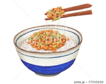 手描き飲食メニュー 納豆ごはん 77543030