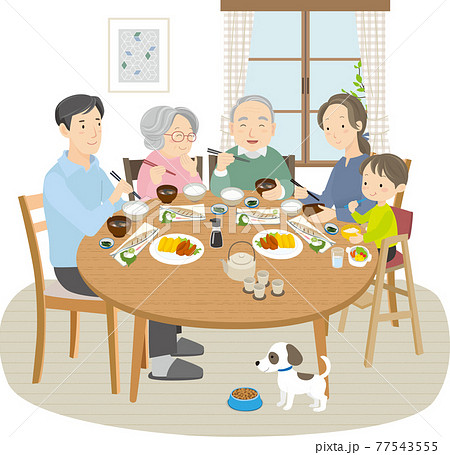 3世代家族の食卓、5人と1匹 77543555