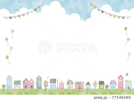 夏の住宅街風景フレーム 77546499