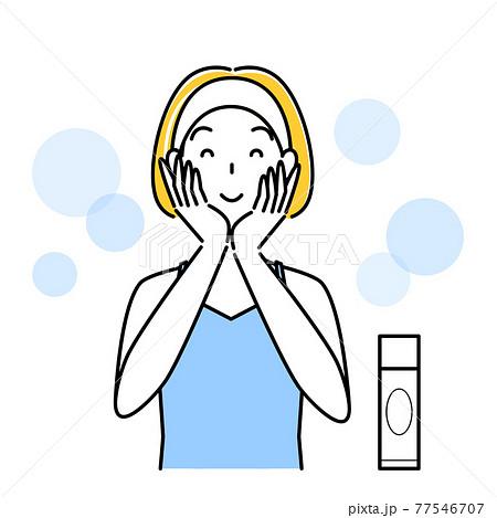 スキンケア 両手で顔を包み込み美容液を肌になじませている女性 イラスト シンプル ベクター 77546707