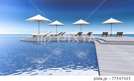 3d terrace sea view 77547435