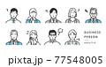 ネガティブな表情のビジネスパーソンのアバターアイコンイラスト素材 77548005