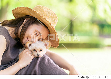 小型犬と散歩する若い女性 木陰でひと休み 柏の葉公園 77549517
