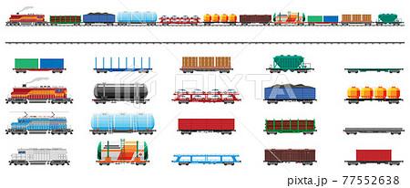 Set of train cargo wagons, cisterns, tanks, cars 77552638