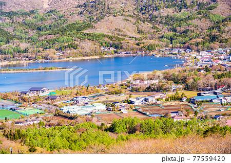 (山梨県)パノラマ台から望む、山中湖村平野地区 77559420