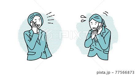 テキパキと電話をする 電話対応に焦る 女性ビジネスパーソン 77566873