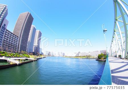 江東区と中央区に架かる相生橋から望む風景 77575035