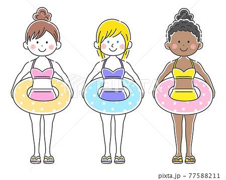浮き輪を持った水着の女性のイラストセット 77588211