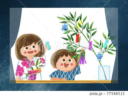 窓辺で七夕飾りをつける子供たち 77588515