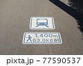 歩道の上の交通標識 駅までの距離と消費カロリーを示す標識 77590537